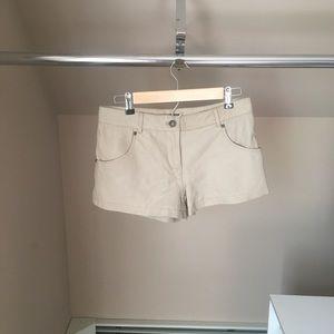 Beige leather shorts